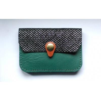 Porte monnaie Zanzibar en cuir Vert émeraude Noir argenté camel fabriqué artisanalement en normandie