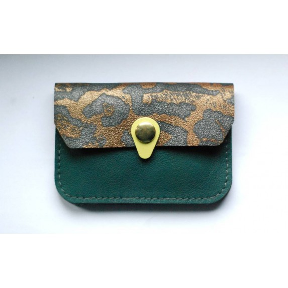 Porte monnaie en cuir Zanzibar Bleu canard léopard pailleté jaune menthe Poivrée