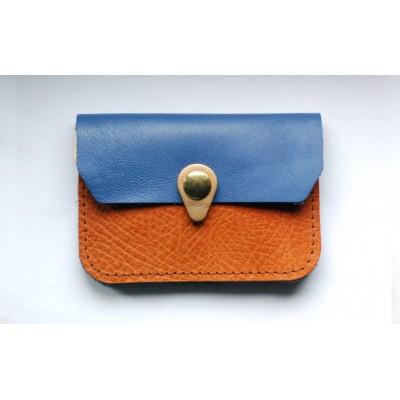 Porte monnaie Zanzibar en cuirs Camel Bleu Bronze fabrique én normandie Menthe Poivrée