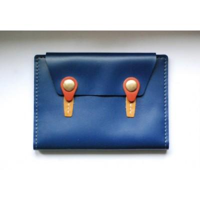 Protège-passeport / permis de conduire / carte grise bleu ocre rouille en cuir fabriqué en france