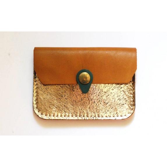 Porte monnaie Zanzibar doré texturé et camel fabriqué artisanalement en france