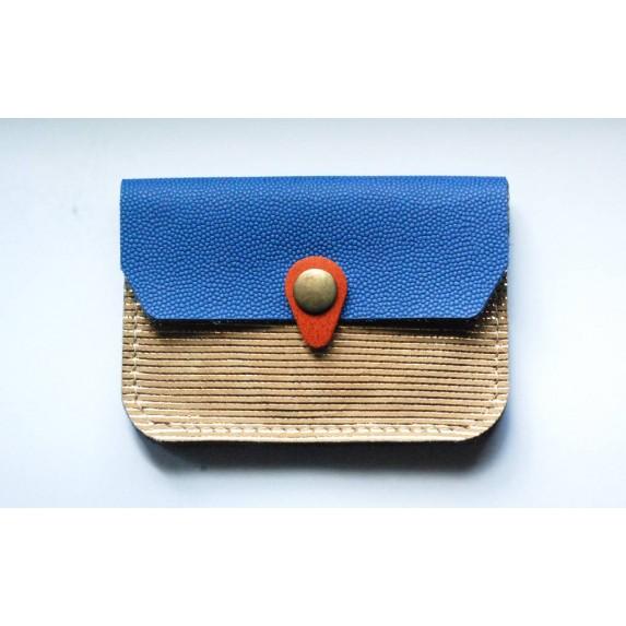 Porte monnaie Zanzibar Marin en cuir doté et bleu cobalt made in France