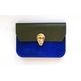 Porte monnaie Zanzibar Bleu électrique, kaki et or