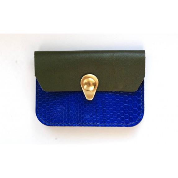 Porte monnaie Zanzibar Bleu électrique, kaki et or fabrique en normandie artisanalement