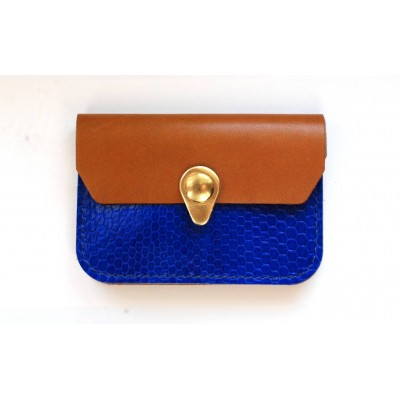 Porte monnaie Zanzibar Bleu électrique, camel et or fait-main en france