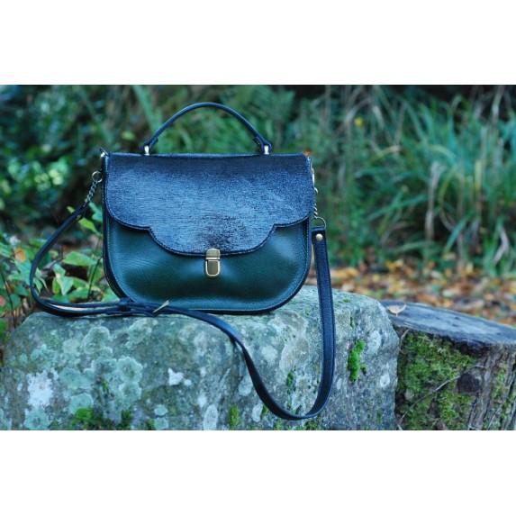 Sacen cuir fabrication française - Vert sapin et noir brillant Menthe Poivrée