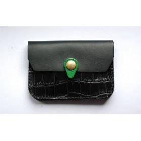 Porte monnaie Zanzibar Noir croco, noir et vert