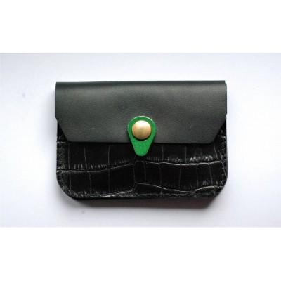 Porte monnaie Zanzibar Noir croco vert fabriqué en france