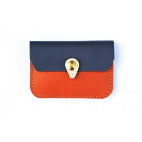 Porte monnaie Zanzibar camel bleu orage argent