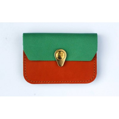 Porte monnaie Zanzibar camel vert amande et or