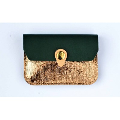 Porte monnaie Zanzibar en cuir Cuivre vert emeraude rose fabriqué artisanalement en france