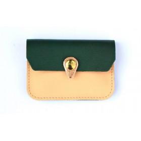Porte monnaie Zanzibar Rose pâle vert emeraude cuivre