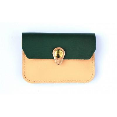 Porte monnaie Zanzibar en cuir Rose pâle vert emeraude cuivre fabriqué artisanalement en France