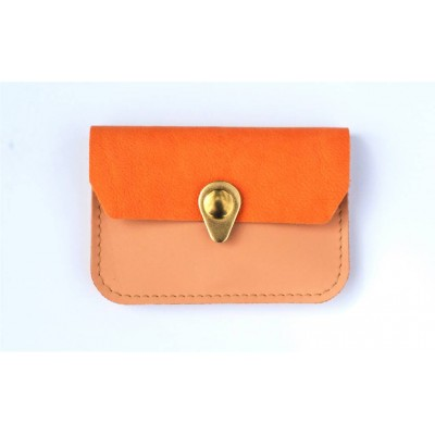 Porte monnaie Zanzibar en cuir Rose pâle orange et or made in france