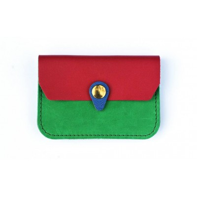 Porte monnaie Zanzibar en cuir Vert prairie, rose et bleu fabriqué en france