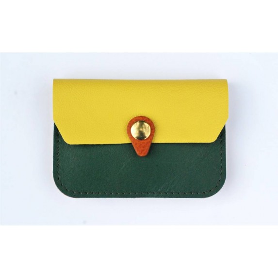 Porte monnaie en cuir vert emeraude, jaune camel fabriqué et France
