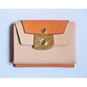 Portefeuille en cuir - Rose Orange et Or