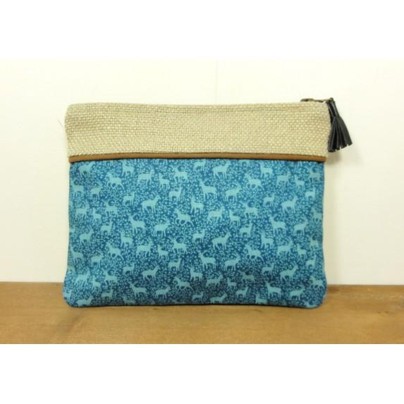 Pochette en coton à motifs cerfs bleue verte