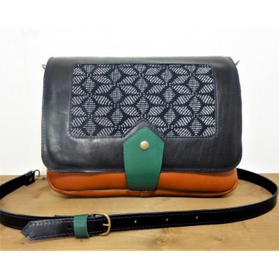Sac en cuir et tissu de créateur Made in france - marron- bleu marine- vert émeraude